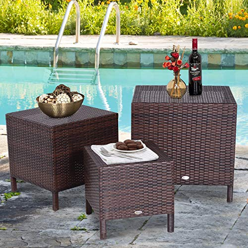 Festnight Set of 3 Outdoor Patio Wicker Outdoor Nesting Coffee Table, End Side Tables, Garden Patio Dining Set for Swimming Pool, Terrace
