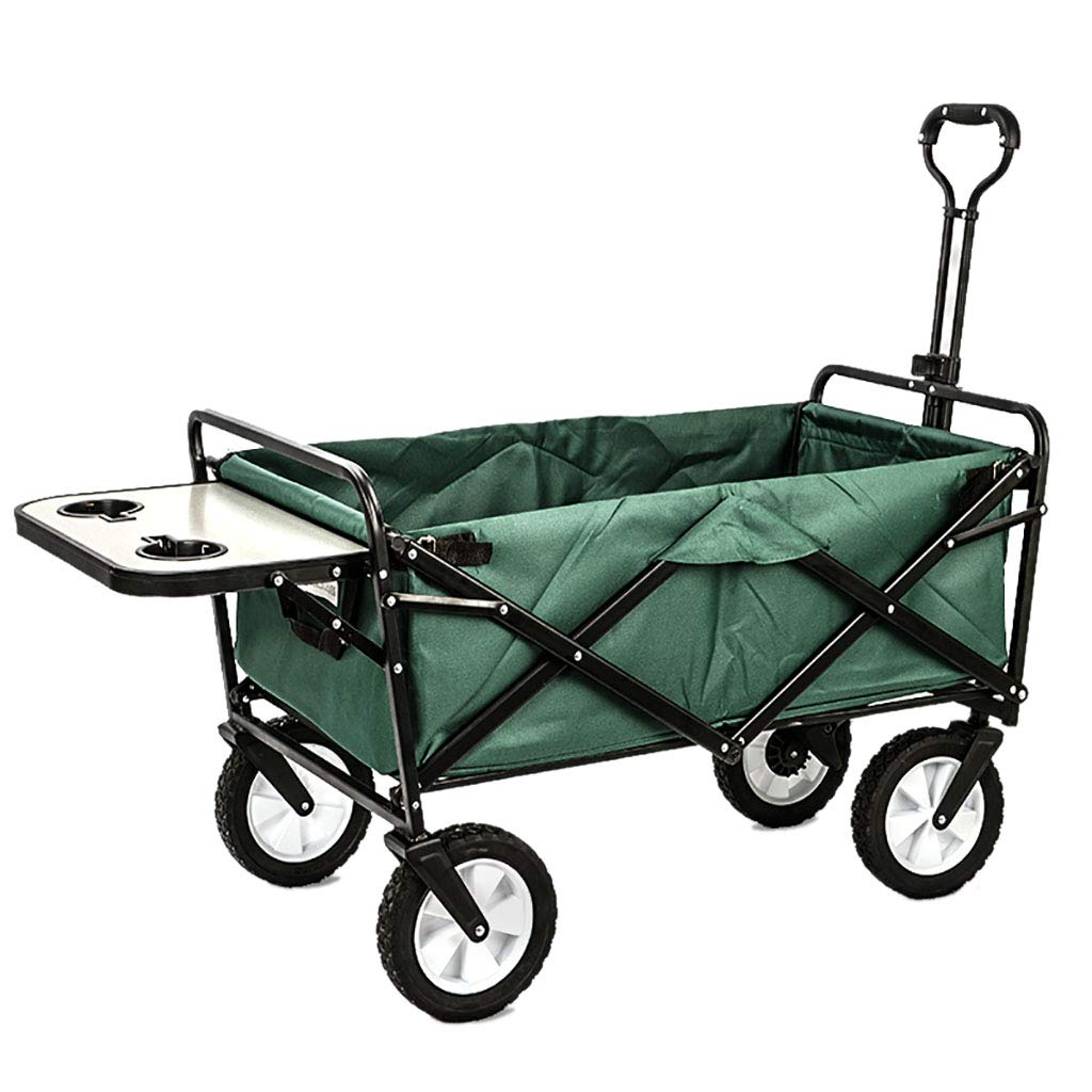 Green Outdoor Festivals Camping Garden Cart Folding Wagon Foldable Heavy Duty Outdoor Trolley Utility Transport Cart With table 80kg Max Load, 8 color