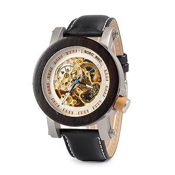 bobo pájaro especial hombres de la mecánico automático reloj de pulsera reloj de madera para hombres con correa de piel de vaca: Amazon.es: Relojes