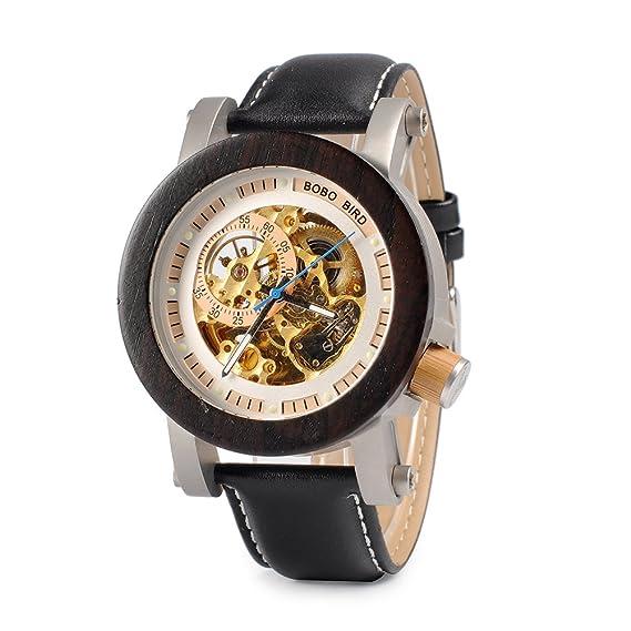 bobo pájaro especial hombres de la mecánico automático reloj de pulsera reloj de madera para hombres