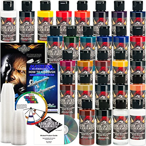26 CREATEX Wicked Colors 2oz Detail Colors Airbrush Paint Set by Createx