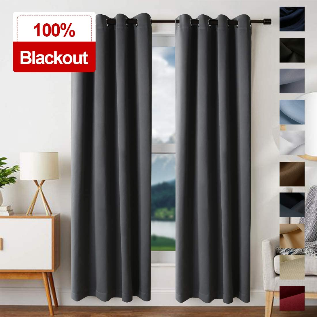 EDILLY Blackout Curtains for Bedroom Thermal Insulated Blackout Grommet Window Curtain Panel for Living Room Window Treatment 2 Panels, W52xL95 inch Length, Dark Gray