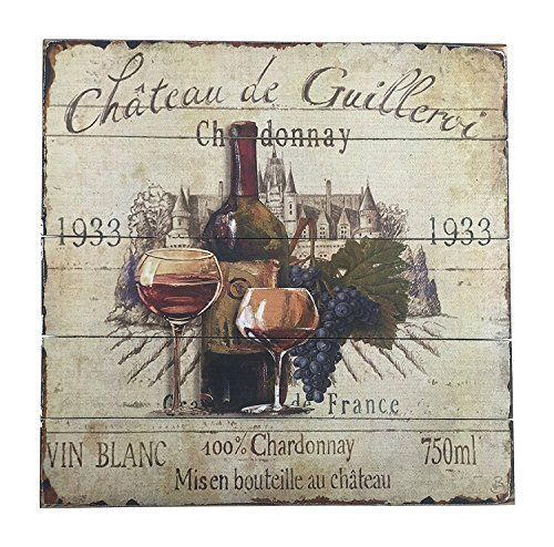 French Wine Label Sign Chardonnay with Purple Grapes 15.5 ()