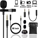 Lapel Microphone (Unique Fuzzy Windscreen Included) Omnidirectional Noise Cancelling Clip-on Speaker Mic for iPhone iPad Mac Android Smartphones Interview Video Recording (Single)