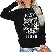 RUUHEE Women Tiger Printing Crewneck Long Sleeve Pullover Casual Tops Sweatshirt Blouses