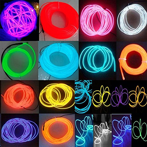 100m 5.0mm Flexible Red / Blue Neon Light Wire Window Sign Glow EL Wire Rope Caution Tube Light