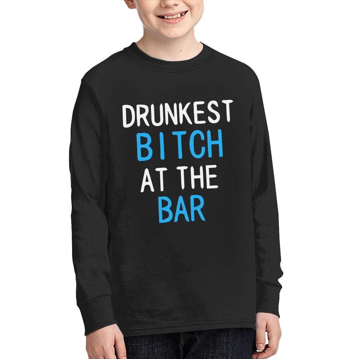 Teenagers Teen Girl Drunkest Bitch at The Bar Printed Long Sleeve 100/% Cotton Tee Shirt