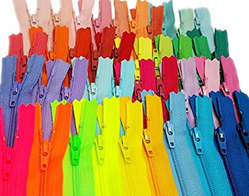 Zipperstop Wholesale - 48pcs YKK#3 Nylon Coil Zippers Tailor Sewing Tools Garment Accessories Zipper16 Color Bonus 4 neon Colors (Length 9 inch)]()