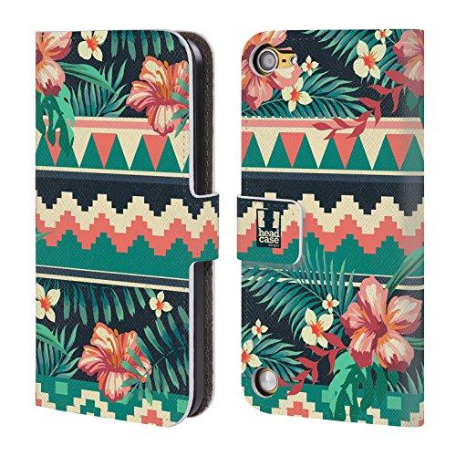 Head Case Pattern Tropical Prints Cover telefono a portafoglio in pelle per Apple iPod Touch 5G 5th Gen / 6G 6th Gen