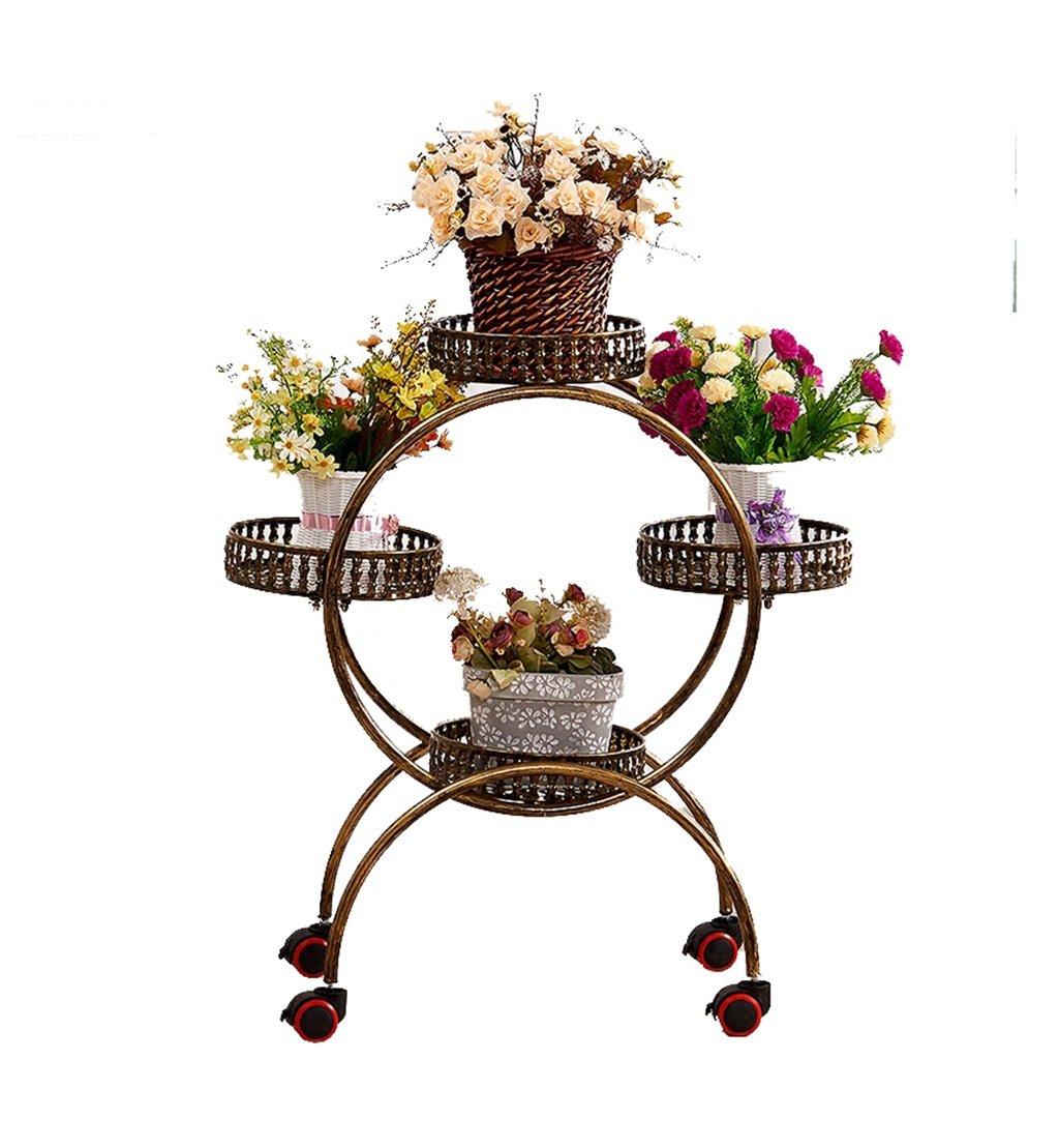 Art Style in ferro nordico 4 vasi Pot Flower Plant Stand cremagliera Espositore per vasi da fiori in metallo lavorato in metallo Salotto interno per balconi Stand di fiori rimovibili con 4 colorei - L5