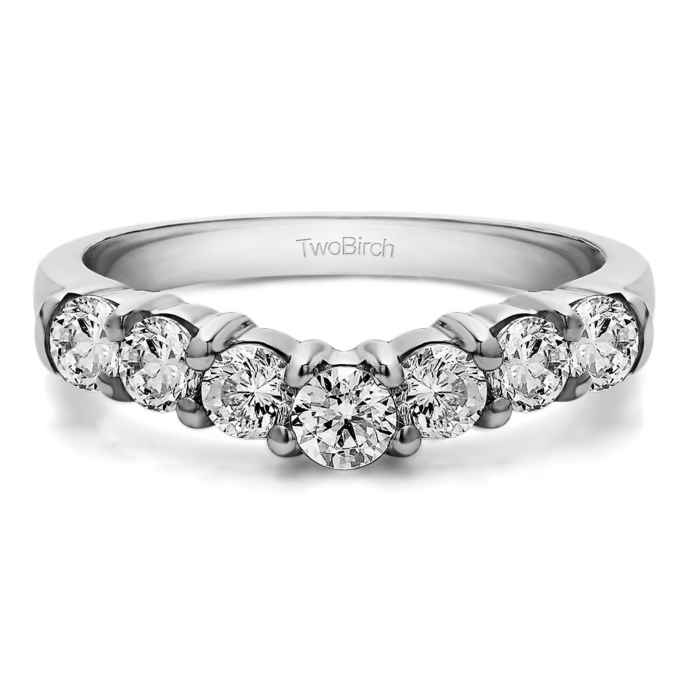 0.25 ct. CZ CZ Contour Style Anniversary Wedding Ring set in Silver (0.25 Ct. Twt.) in Silver (1/4 ct. twt.)