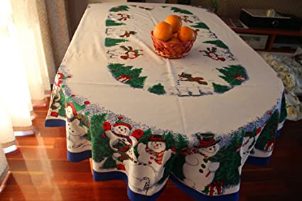 Christmas Tablecloths.Mzpride Cute Snowman Christmas Tablecloth Pine Tree Christmas Table Cloths 60 84 Oval