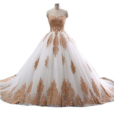 Beautiful Wedding Dress.Molixin Sweetheat Beautiful Wedding Dresses Bridal Gowns Gold Lace