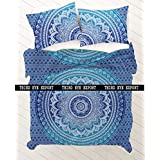 Third Eye Export NEW Full Indian Medallion Queen Size Cotton Doona Duvet Cover Set Hippie Bohemian Mandala Blanket Quilt Cover Bedspread Bedding Comforter Cover With Pillow Covers