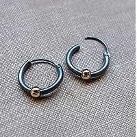 Unisex Black Earrings with Gold Beads - Huggie Hoops for Men - Dark Earrings - Sterling Silver Jewelry -