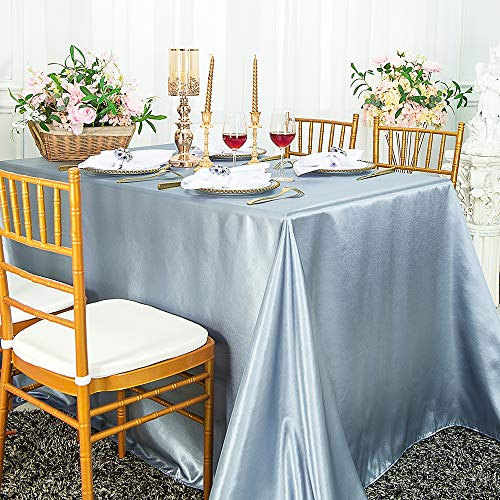 Wedding Linens Inc. 90″ x 156″ Rectangular Seamless Satin tablecloths Table Cover Linens for Restaurant Kitchen Dining Wedding Party Banquet Events – Dusty Blue