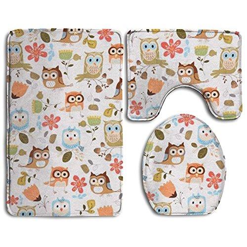 Owl Animal 3 Piece Traditional Bathroom Rugs Set Non Slip Easy Care Bath Shower Mat U-shaped Lid Toilet Floor