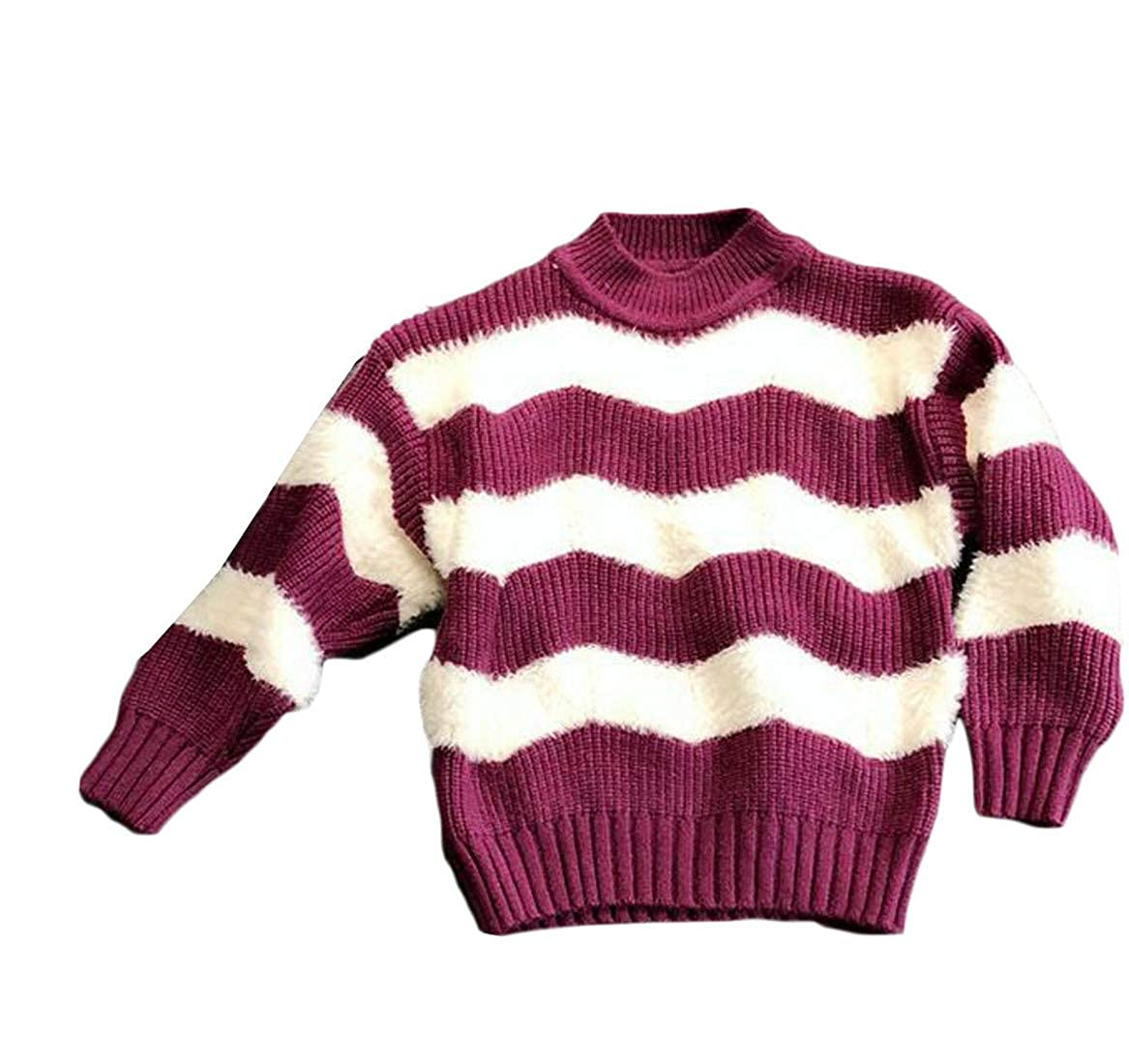 Hajotrawa Girl Casual Knit Striped Round Neck Color Block Pullover Sweaters