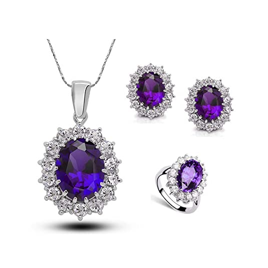 Purple Jewelry Sets Silver Crystal Pendant Necklace Earrings Set for Women with Ring