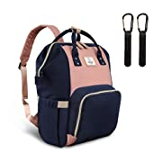 Pipi bear Diaper Bag, Waterproof Large Capacity Baby Backpack Diaper Bag with Insulated Pockets, Stylish Multi-Function Maternity Nappy Bags for Baby Care (Pink&Blue)