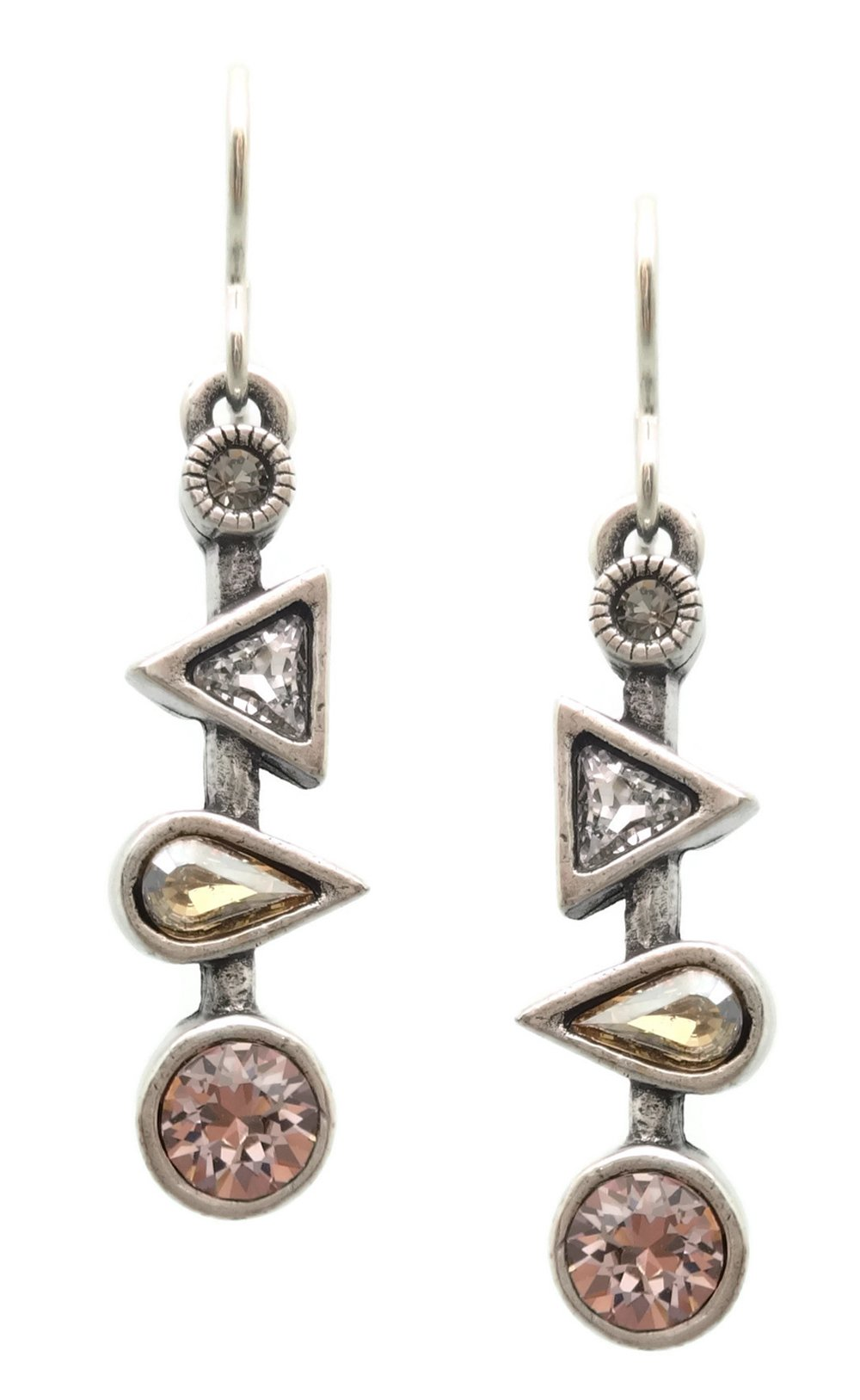 Patricia Locke Champagne Pink Grey Mix Ice Ice Baby Swarovski Crystal Silvertone Hook Earrings