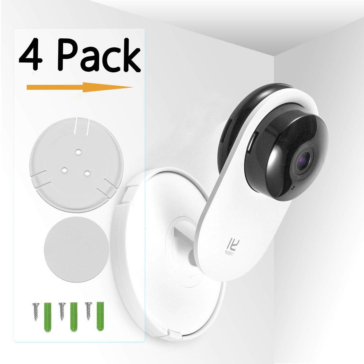 (Pack of 4) Aboom Yi Home Camera Wall Mount, Customized Stand Bracket for YI 1080p/720p Home Camera ,Designed for USA (NOT Included Camera)