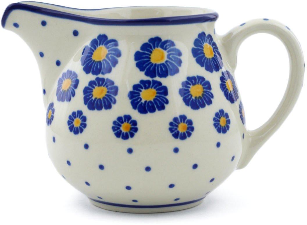 Polish Pottery 7 oz Pitcher made by Ceramika Artystyczna (Wreath Of Blue Theme) + Certificate of Authenticity