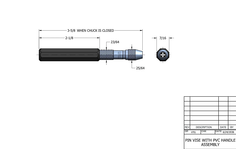 Starrett 166B Pin Vise With Insulated Octagonal Handle 0.030-0.062 Range