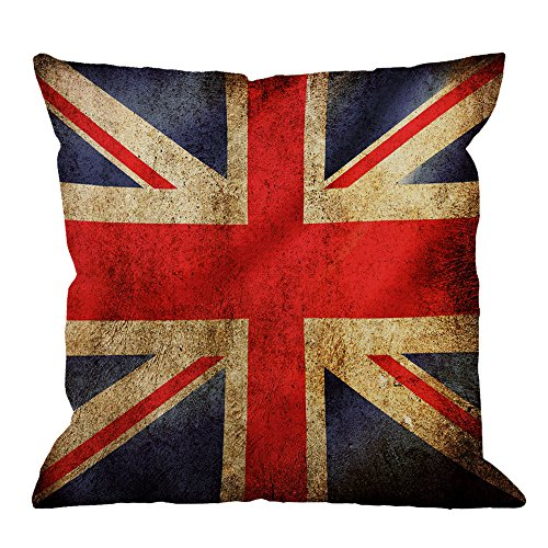 HGOD DESIGNS UK Flag Pillow Covers,Decorative Throw Pillow Vintage United Kingdom Flag Pillow cases Cotton Linen Outdoor Indoor Square Cushion Covers For Home Sofa couch 18x18 inch