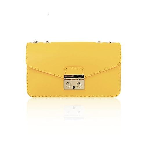 #MYITALIANBAG - Cartera de mano de Piel para mujer amarillo amarillo: Amazon.es: Zapatos y complementos