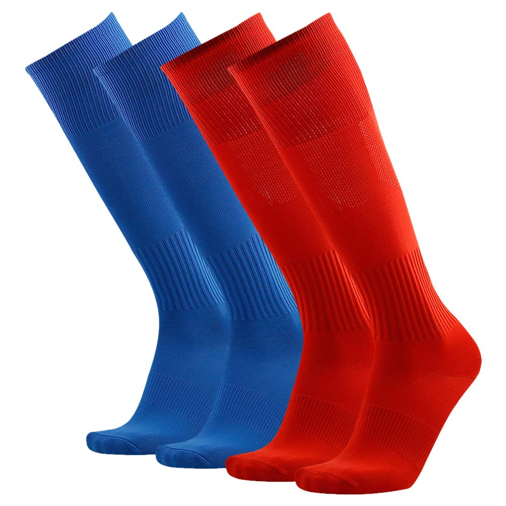 Three street Long Soccer Socks Red, Unisex Sport Athletic Knee-High Wicking Moisture Running Soccer Football Tube Socks School Team Gift Blue Red 4 Pairs by Three street