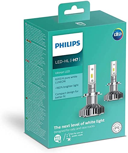 Philips Ultinon - Bombillas LED H7 para faros delanteros de coche: Amazon.es: Coche y moto