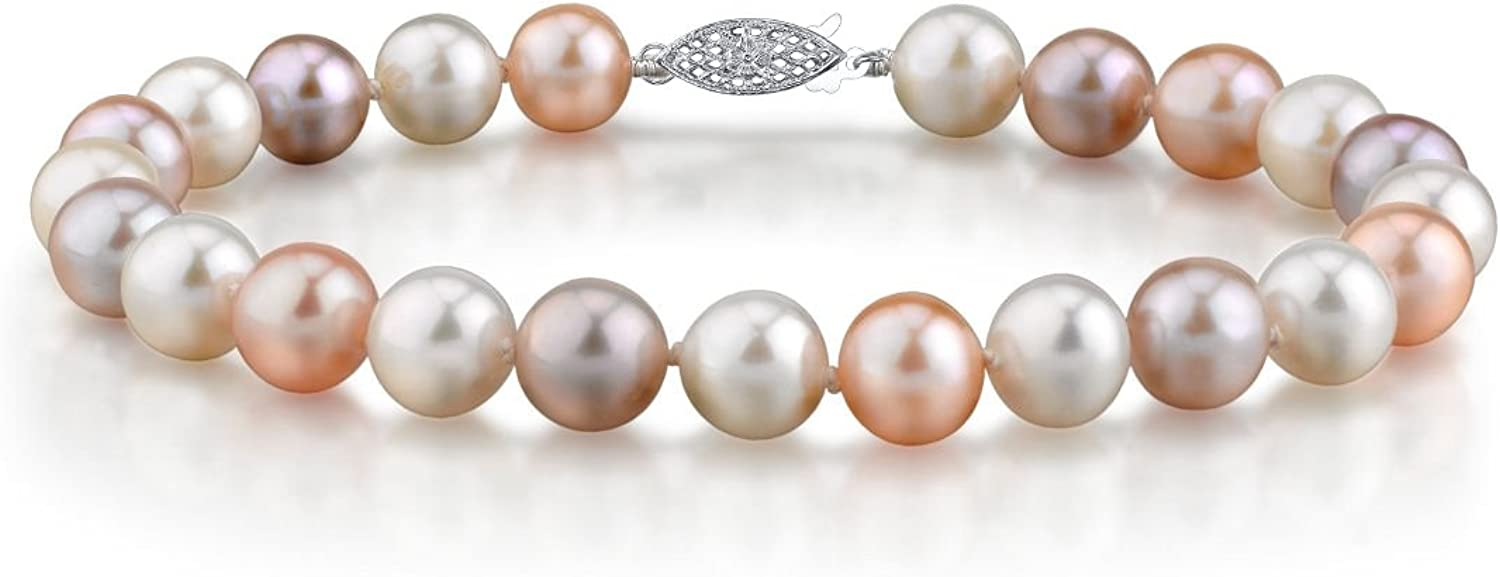 THE PEARL SOURCE 14K Gold 7-8mm AAA Quality Round Multicolor Freshwater Cultured Pearl Bracelet for Women