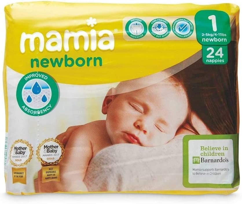 Pack of 3 3 x 24 72 Nappies Size 1 Mamia Baby Newborn Nappies 2-5kg