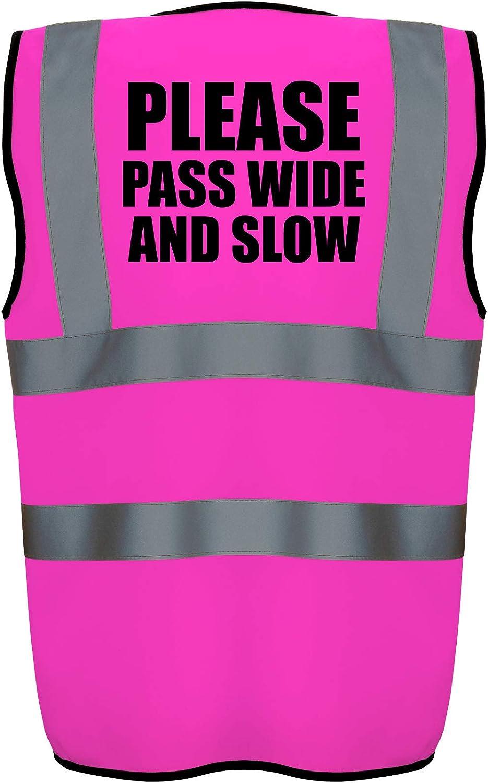 Hi Vis Hi Viz High Visibility Reflective Safety Vest//Waistcoat PLEASE PASS WIDE AND SLOW