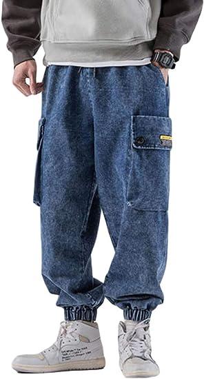 [Bestmood]ジョガーパンツ メンズ ジーンズ ゆったり デニムパンツ サルエル ポケット付き テーパードパンツ デニム ウェストゴム ロングパンツ カジュアル 大きいサイズ ジーパン