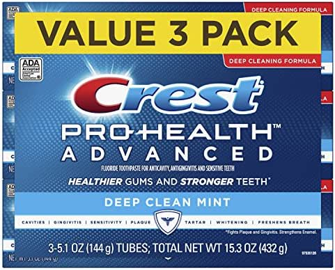 Crest Pro Health Advanced Deep Clean Toothpaste, Mint, 5.1 Ounce, Pack of 3