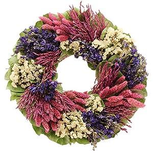 "Floral Treasure 163303 16"" Violet Patchwork Garden Wreath Small Hot Lavender 83"