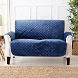 Great Bay Home Modern Velvet Furniture Protector. Stain Resistant, Durable, Machine Washable. Perfect for Pets, Dogs & Kids (Loveseat, Dark Denim Blue)