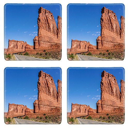 Luxlady Natural Rubber Square Coasters IMAGE ID: 34117998 Road along the courthouse towers in Arches National Park USA