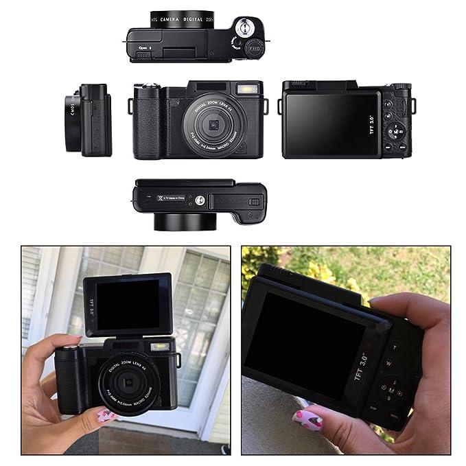 Cámara Digital de videocámara Full HD 1080p 24.0MP cámara de vlogging 3.0 Pulgadas con Pantalla de cámara con Linterna retráctil: Amazon.es: Electrónica