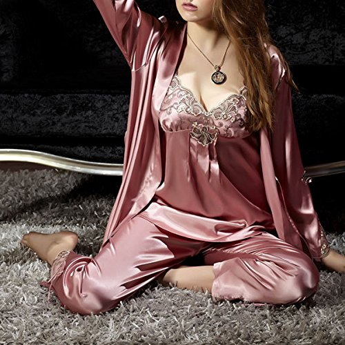 Sproud Spring Summer Cute Women Silk Satin 3 Pieces Sleepwear Sexy Big Plus Size Sleep Suit Pajama Sets Hot Sale,style 1,XXL ()