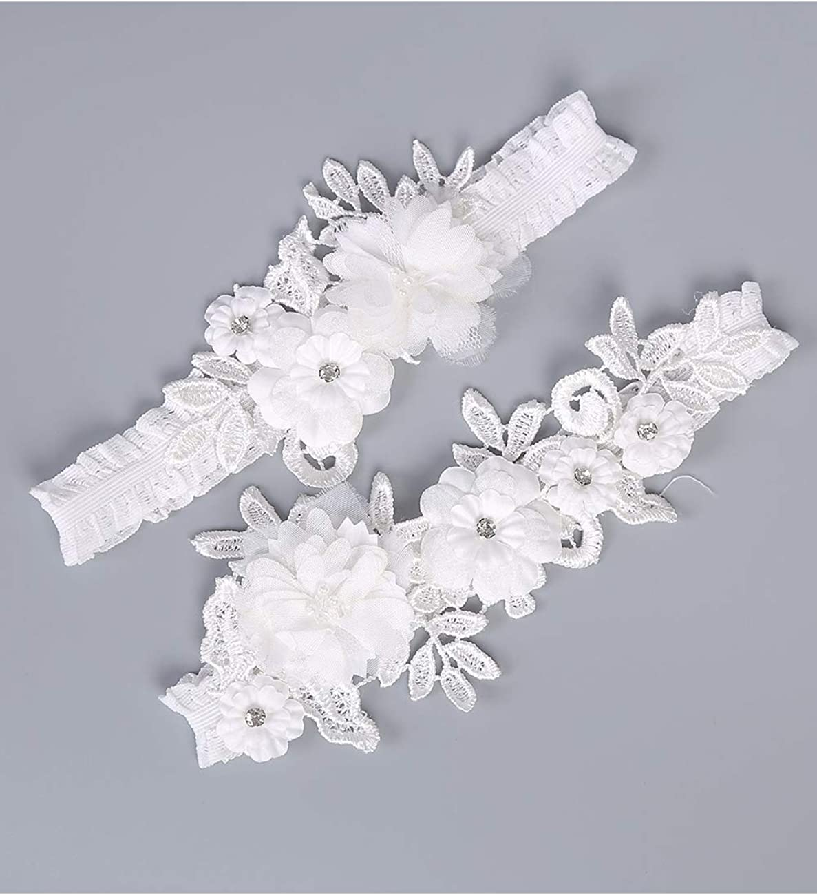 Womens Wedding Bridal Garters Rhinestone Ivory Lace Wedding Gifts Pack of 2 besbomig
