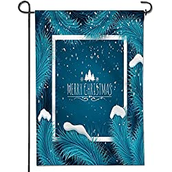 """SCOCICI1588 Welcome Garden Flag- Holiday Christmas background Frozen blue fir tree and text Greeting card vector template Vertical Double Sided Spring Summer Cute Decorative 12"""" x 18"""""""