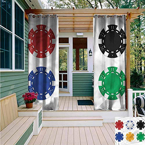 (Beihai1Sun Curtains for Living Room,Poker Tournament Gambling Theme,for Patio/Front Porch,W108x72L )