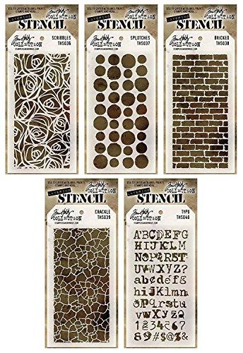 - Tim Holtz - Stencils Set 2 - Five Item Bundle - Scribbles, Splotches, Bricked, Crackle, and Typo
