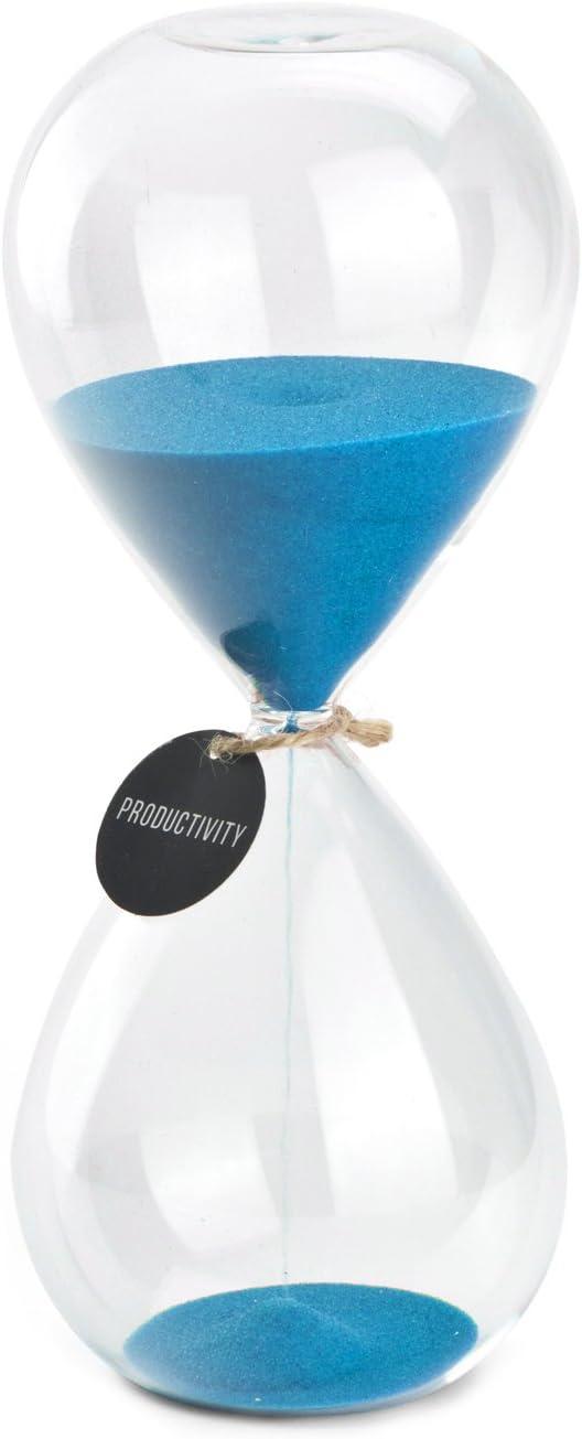 Hourglass Sand Timers - SWISSELITE Biloba Hourglass Sand Timer, 8.5 Inch Blue Sand Timer In 60 Mins