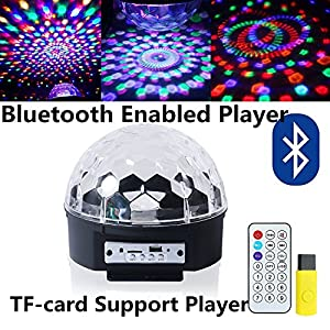ihoven Disco Ball Party Lights, 9 Colors Rotating LED Disco Stage DJ Lights Crystal Magic Light Projector Sound Activated for KTV Xmas Wedding Club Karaoke Lighting Show with Remote Control (Black)