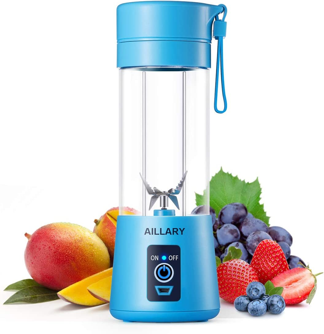 Portable Blender, Aillary Personal Size Blender Shakes and Smoothies,Six Blades Household Fruit Mixer,13oz Mini Battery Cordless Travel Jucier Cup USB Rechargeable (Blue)