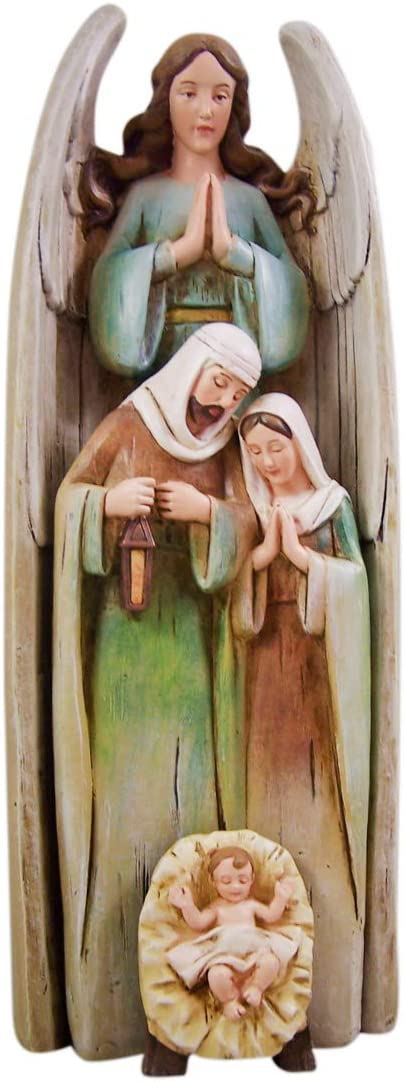 Three Piece Resin Stacking Angel with Holy Family Nativity Figurine Statue Set, 12 1 2 Inch